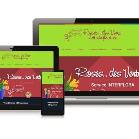 """Création du Site internet  """"Roses des Vents"""" fleuriste dans le Finistère (29)"""