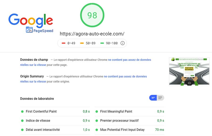 Test google page speed site web Agora auto-ecole Nantes